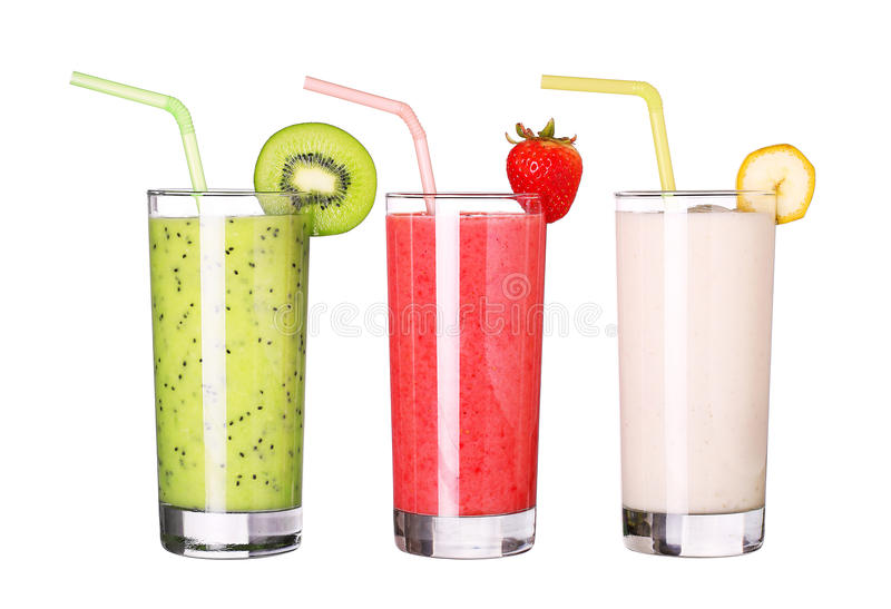 Healthy glass of smoothies collection flavor on white royalty free stock images