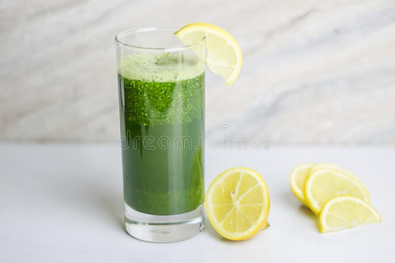 Green detox juice royalty free stock photography