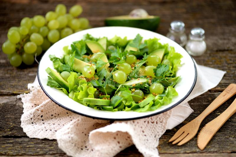 Healthy green salad from avocado, cucumber, grapes, parsley and lettuce with olive oil dressing, balsamic vinegar and grain mustar royalty free stock images