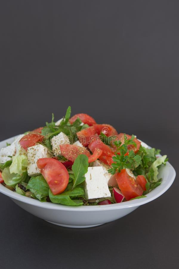 Healthy salad with rucola, red, oregano and cheese royalty free stock photo
