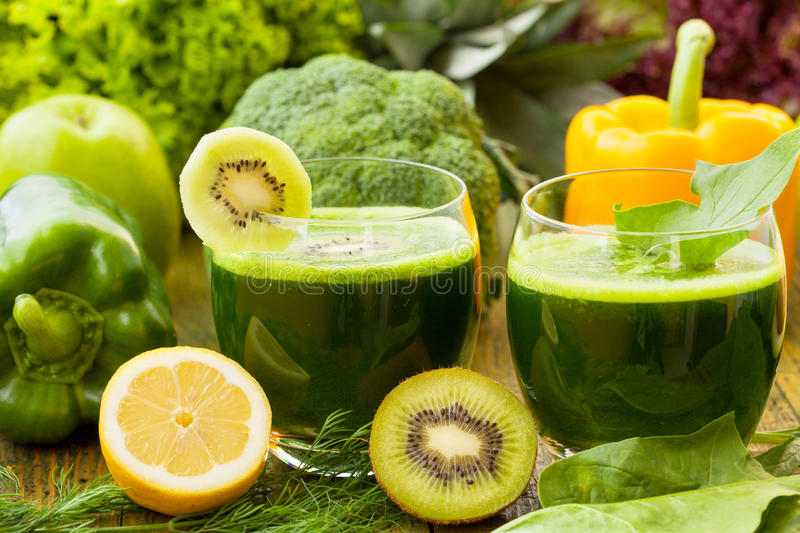 Healthy green smoothies. With various vegetables royalty free stock photography