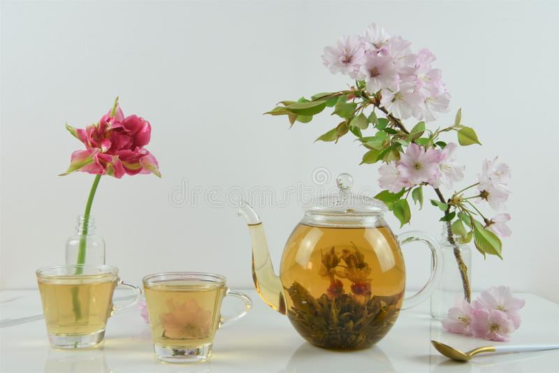 Beautiful afternoon tea with flowers royalty free stock photos