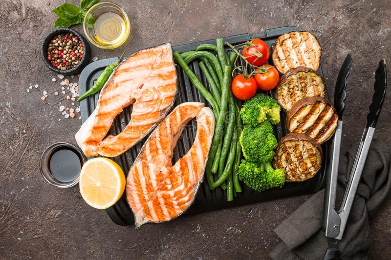 Healthy grill food stock photos