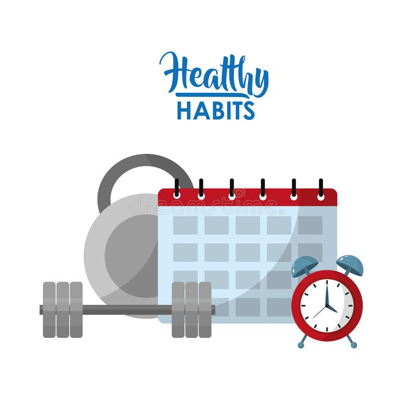 Healthy habits lifestyle concept. Healthy sport lifestyle concept vector illustration graphic design stock illustration