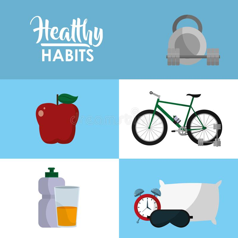 Healthy habits lifestyle concept. Healthy sport lifestyle concept vector illustration graphic design vector illustration