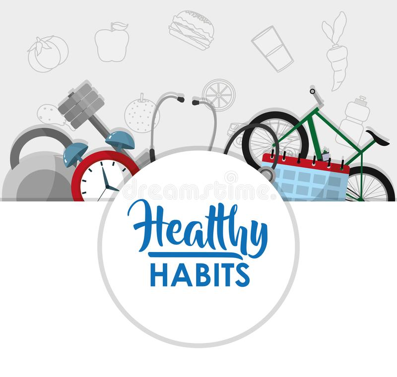 Healthy habits lifestyle concept. Healthy sport lifestyle concept vector illustration graphic design royalty free illustration