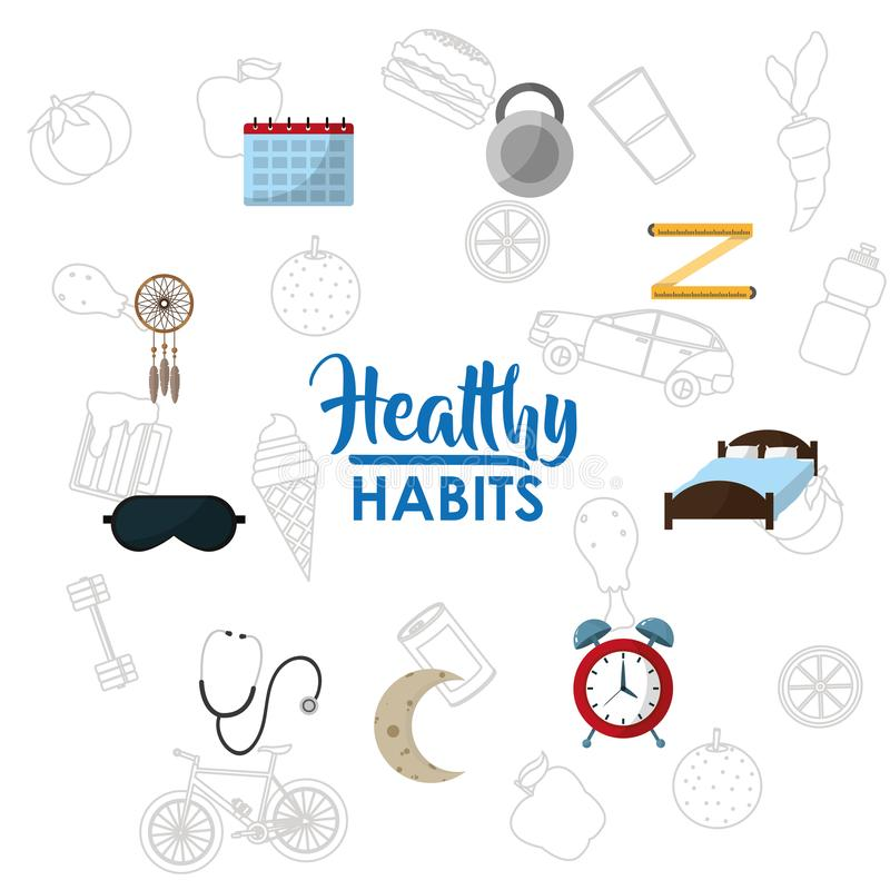 Healthy habits lifestyle concept. Vector illustration graphic design royalty free illustration