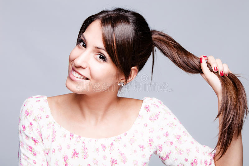 Download Healthy hair stock image. Image of brunette, smile, long - 25848885
