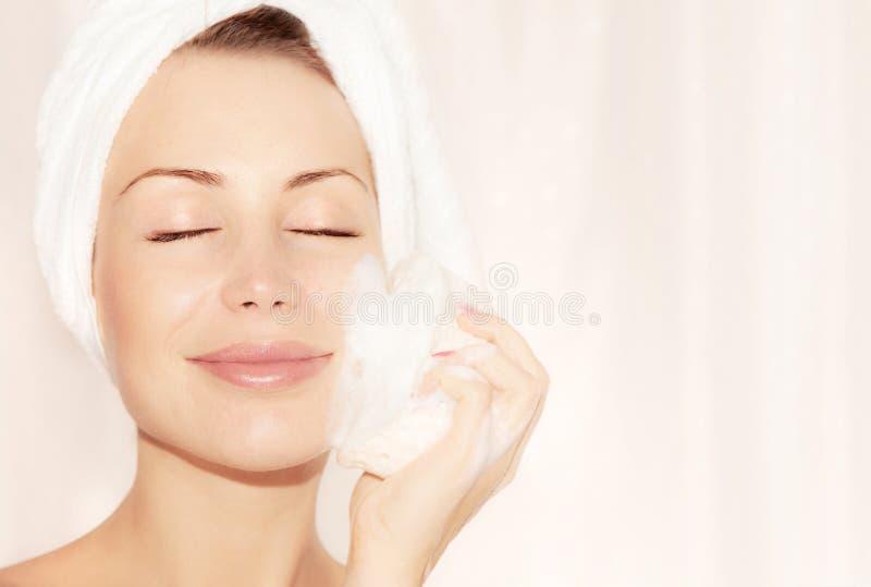Healthy happy girl taking bath royalty free stock photo