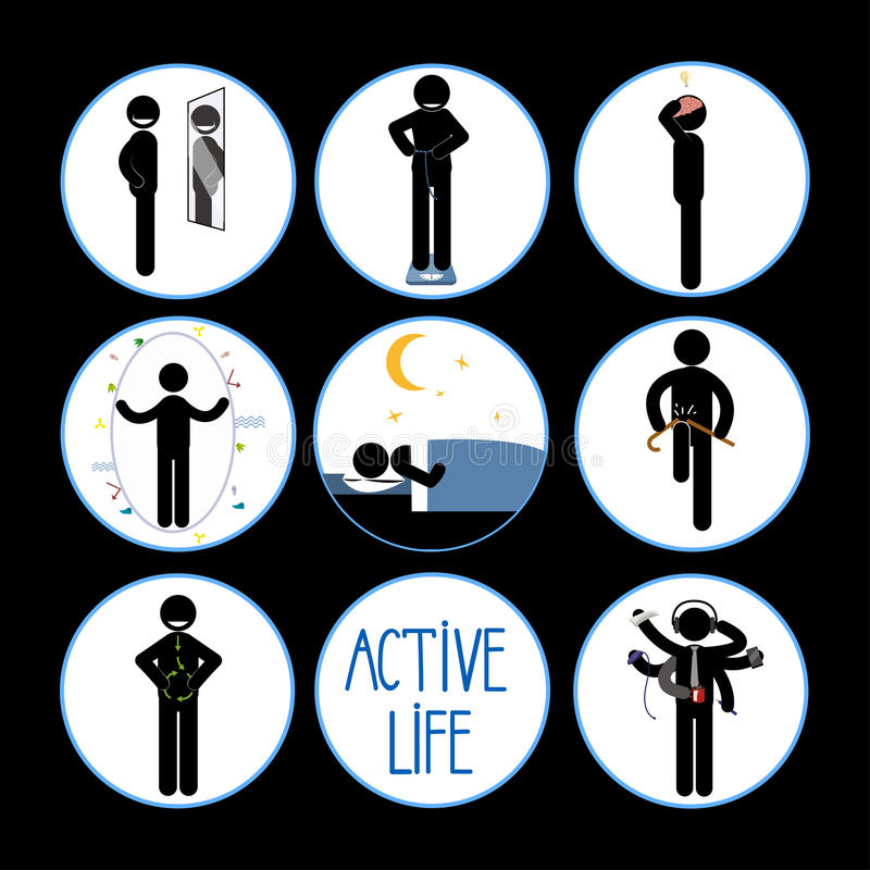 Healthy and happy stick man set vector illustration