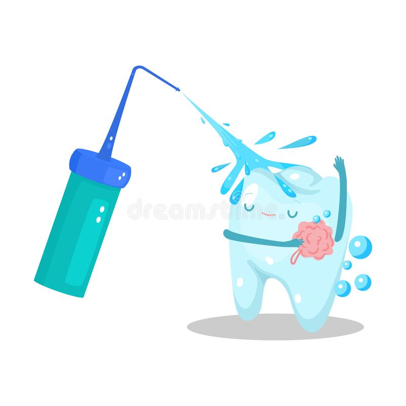 Healthy happy tooth holding washcloth washing in shower vector illustration royalty free stock image