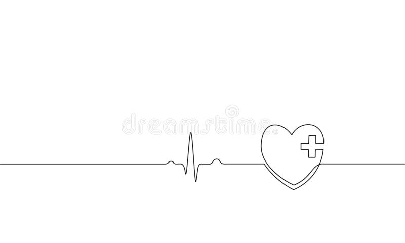 Healthy heart beats pharmacy medicine single continuous line art. Heartbeat pulse silhouette healthcare doctor online stock illustration