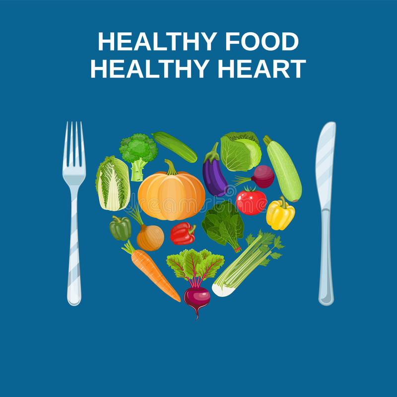 Healthy heart with healthy food concept. Healthy heart with healthy food diet concept. Vector illustration in flat style stock illustration