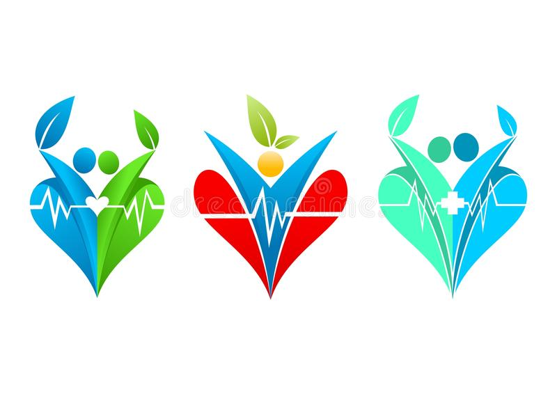 Healthy heart logo, lifestyle wellness, family healthcare, romantic leaf, love human clinic and people healthful concept design stock illustration