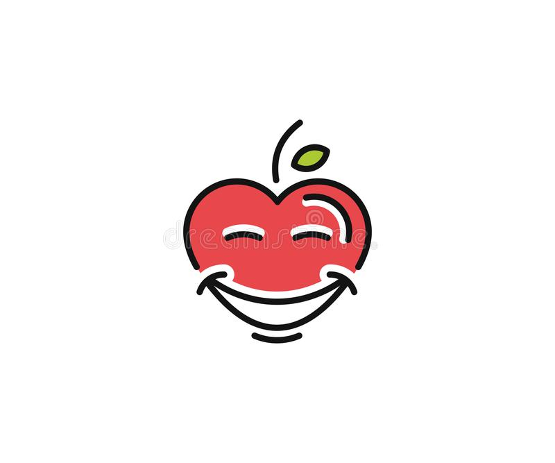 Healthy heart logo template. Happy heart character vector design royalty free illustration