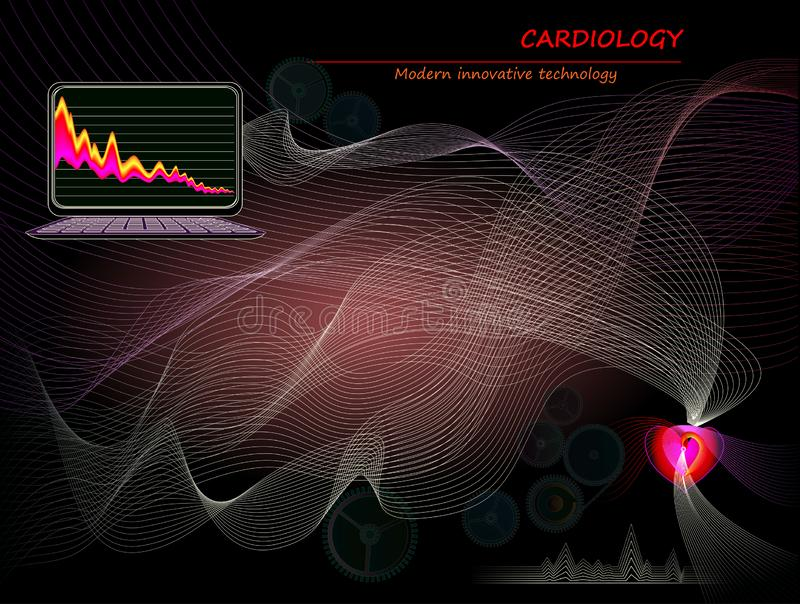 Healthy heart medicine model. Modern innovative High tech digital technology in cardiology. Stylized wavelike electrocardiography. Print for scientific royalty free illustration