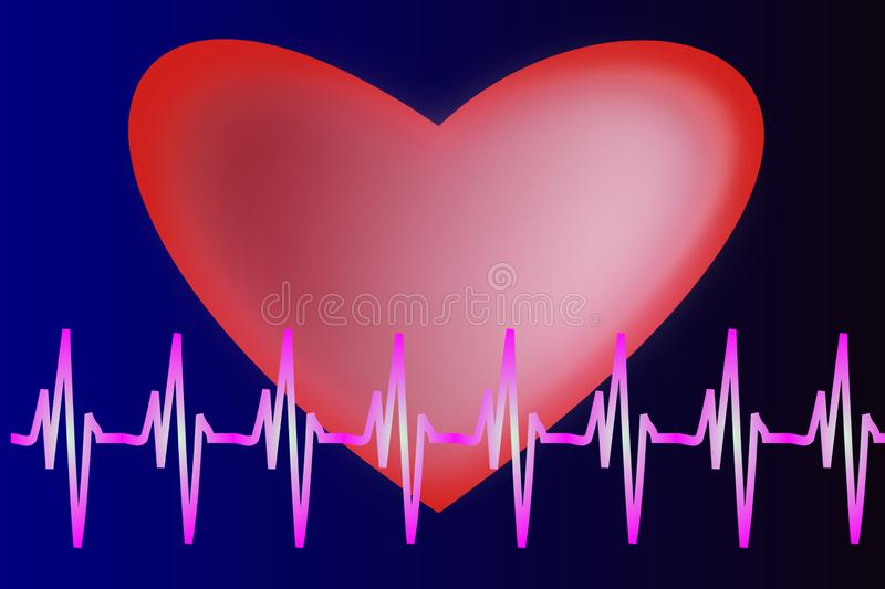 Healthy heart surgery pulse medicine electricity royalty free illustration
