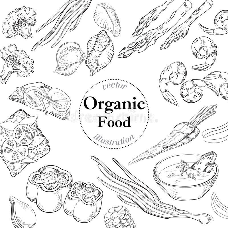 Healthy and Hearty Food. Organic restaurant background template. Healthy and Hearty Food. Organic restaurant background template royalty free illustration
