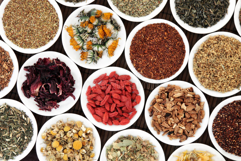 Healthy Herbal Teas stock images
