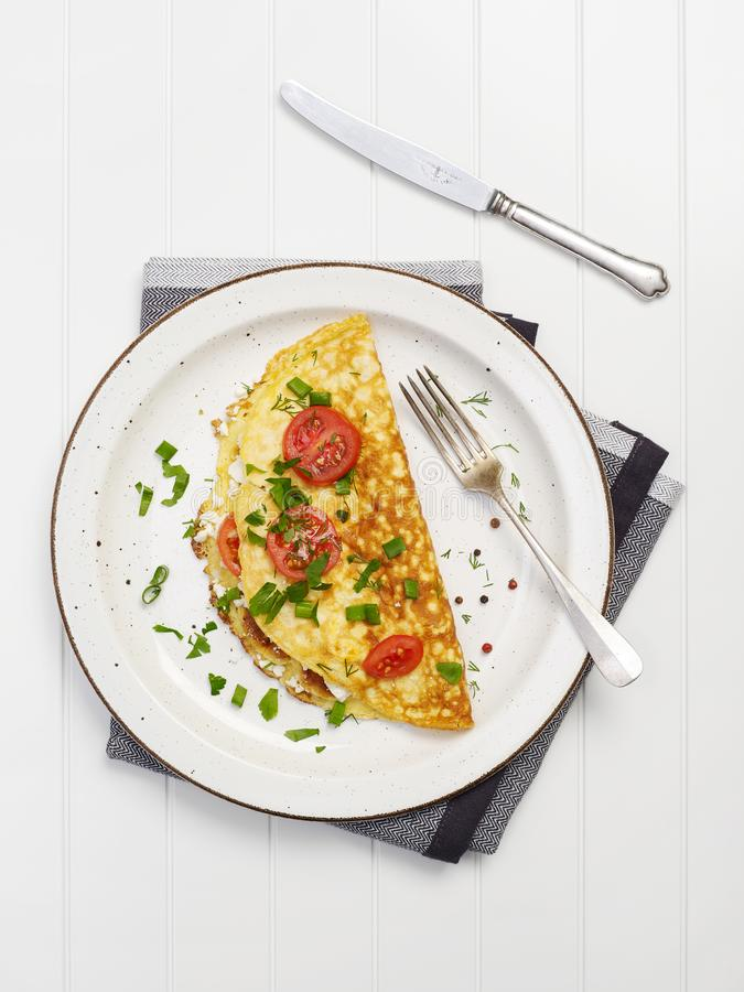 Homemade omelet from above royalty free stock images