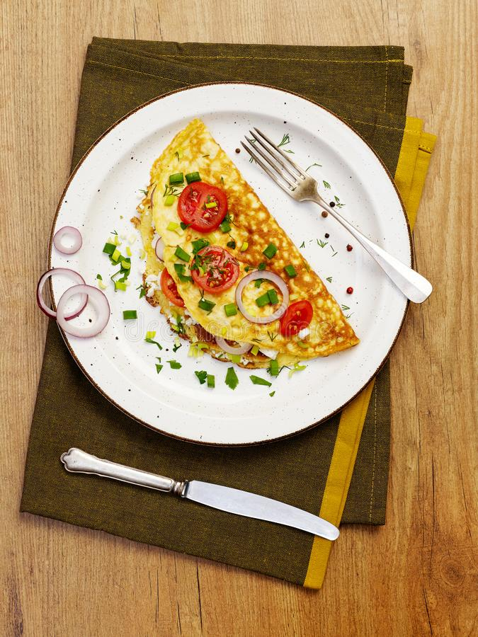 Rustic omelette from above stock photos