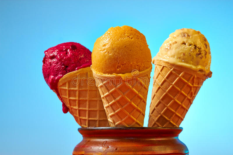 Healthy homemade ice cream. Three different autumn flavor ice creams royalty free stock image