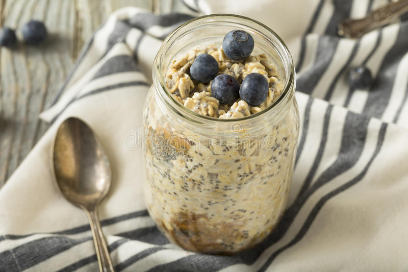 Healthy Homemade Overnight Oats Oatmeal stock image