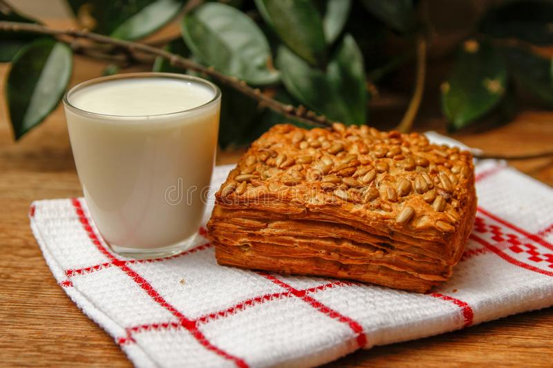 Healthy homemade pastry with integral flour and sunflower seeds and with yogurt stock photos