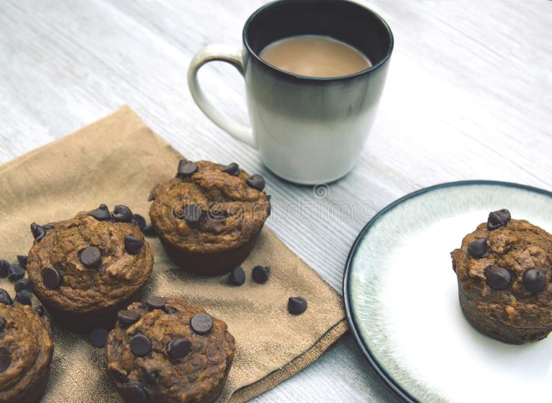 Healthy homemade pumpkin chocolate chip muffins with fall spices royalty free stock photography