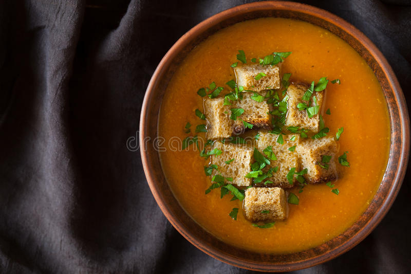 Healthy homemade pumpkin soup traditional recipe royalty free stock images