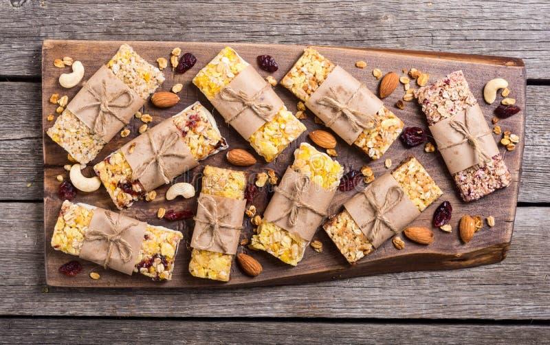 Healthy homemade snacks breakfast . Granola bars. Food vegan energy background royalty free stock images