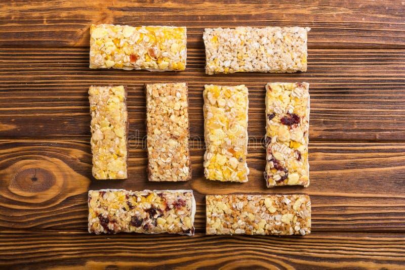 Healthy homemade snacks breakfast . Granola bars. Food vegan energy background stock photography