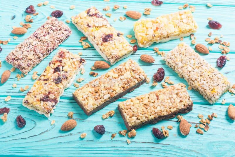 Healthy homemade snacks breakfast . Granola bars. Food vegan energy background stock photos