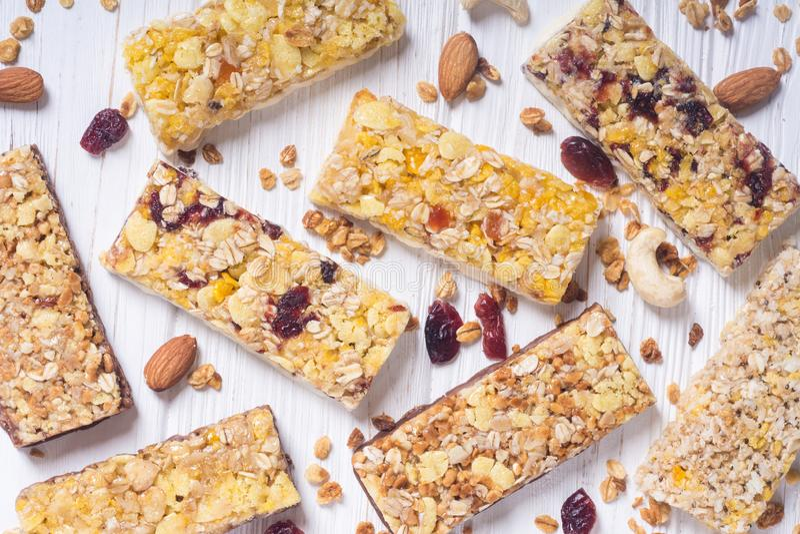 Healthy homemade snacks breakfast . Granola bars. Food vegan energy background royalty free stock photo