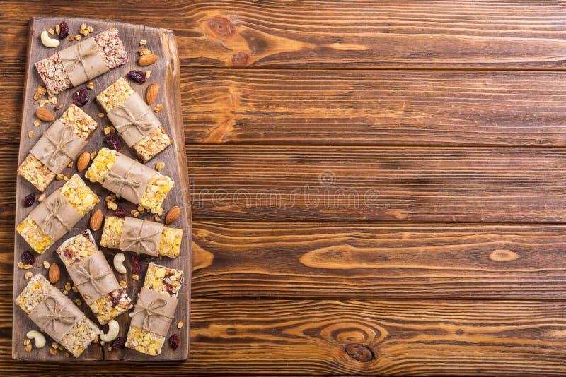 Healthy homemade snacks breakfast . Granola bars. Food vegan energy background royalty free stock photos