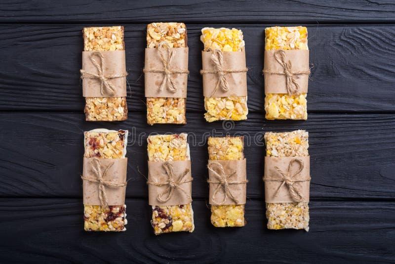 Healthy homemade snacks breakfast . Granola bars. Food vegan energy background royalty free stock photography