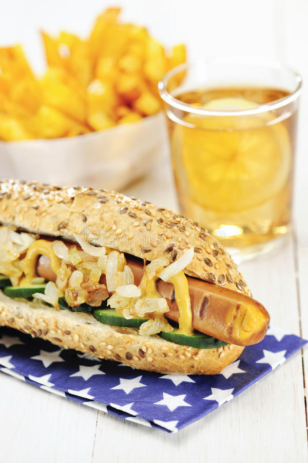 Healthy Homemade Vegan Hot Dog stock image