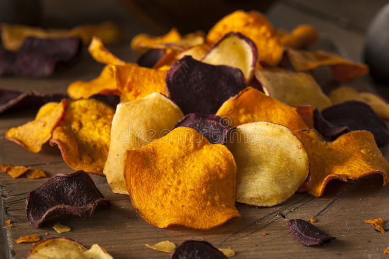 Healthy Homemade Vegetable Chips royalty free stock photo