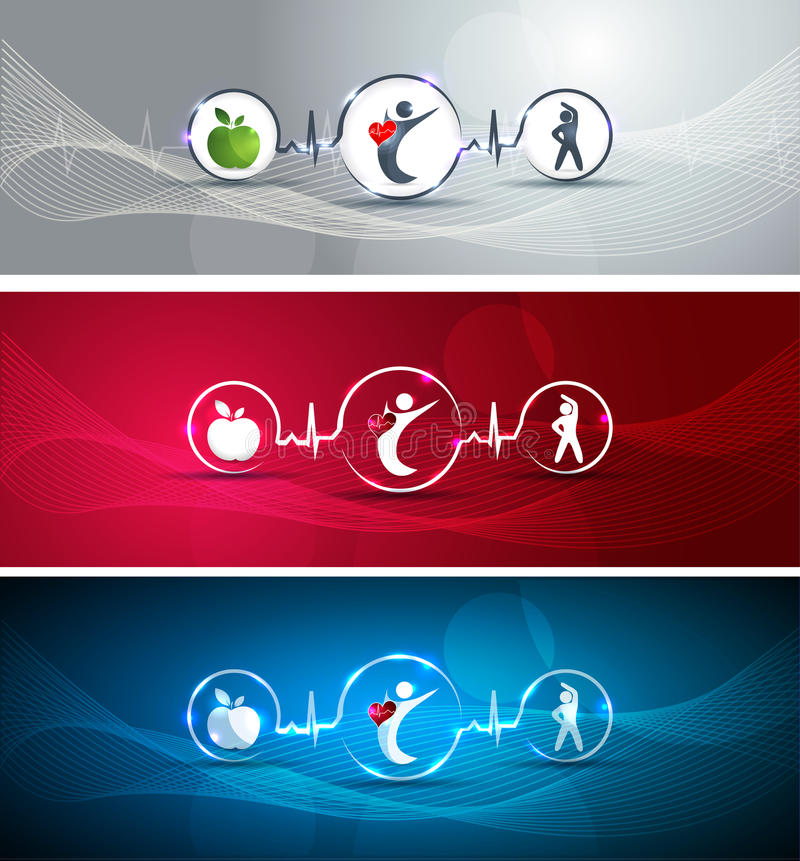 Healthy human and heart banners stock illustration