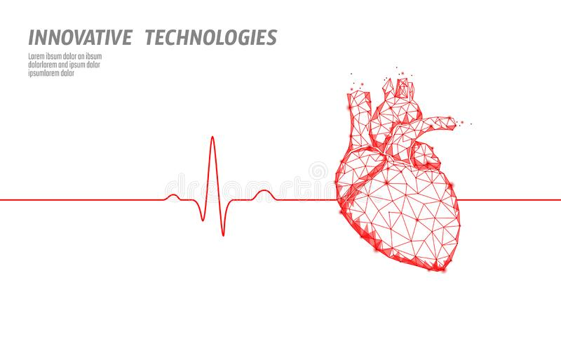 Healthy human heart beats 3d medicine model low poly. Triangle connected dots glow point red background. Pulse internal royalty free illustration
