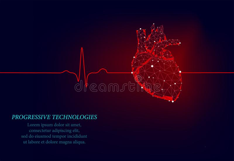 Healthy human heart. 3d medicine model low poly.Progressive techologies. The triangle is connected by illumination points. Human royalty free illustration