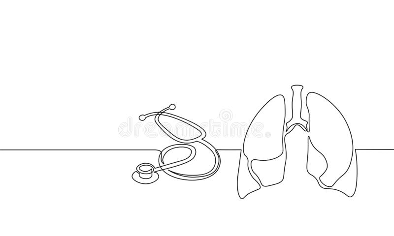 Healthy human lungs medicine single continuous line art. Online doctor World Tuberculosis day modern technology royalty free illustration