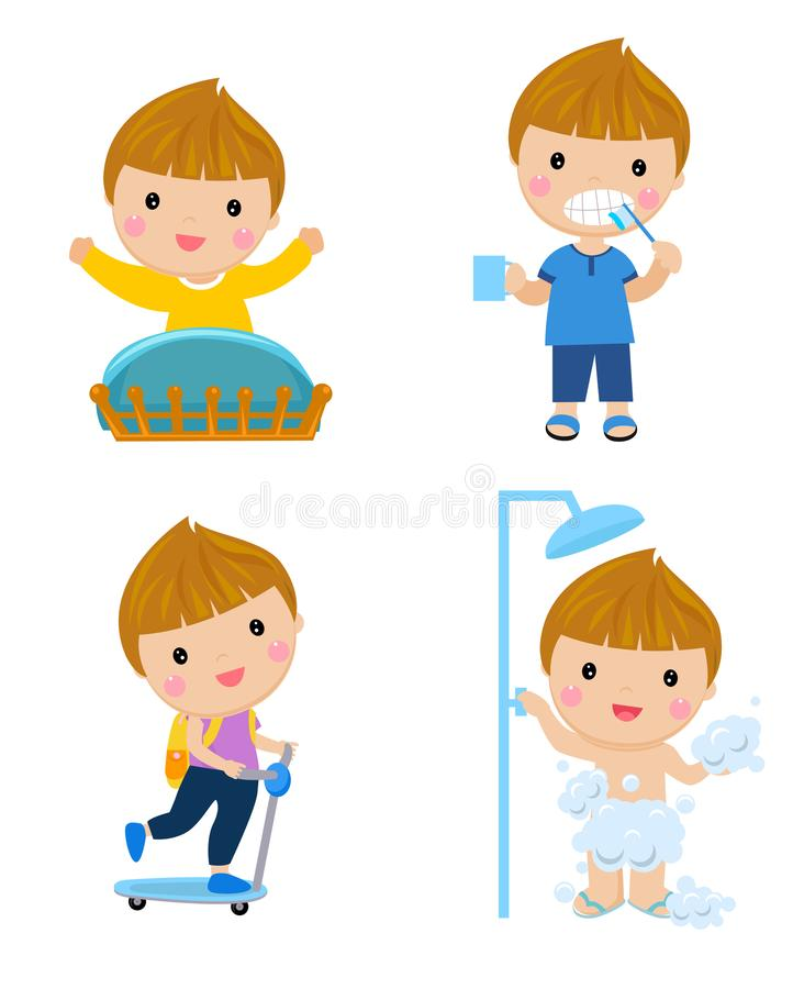 Healthy hygiene for boy cartoon. Healthy hygiene for boy.cartoon.illustration stock illustration