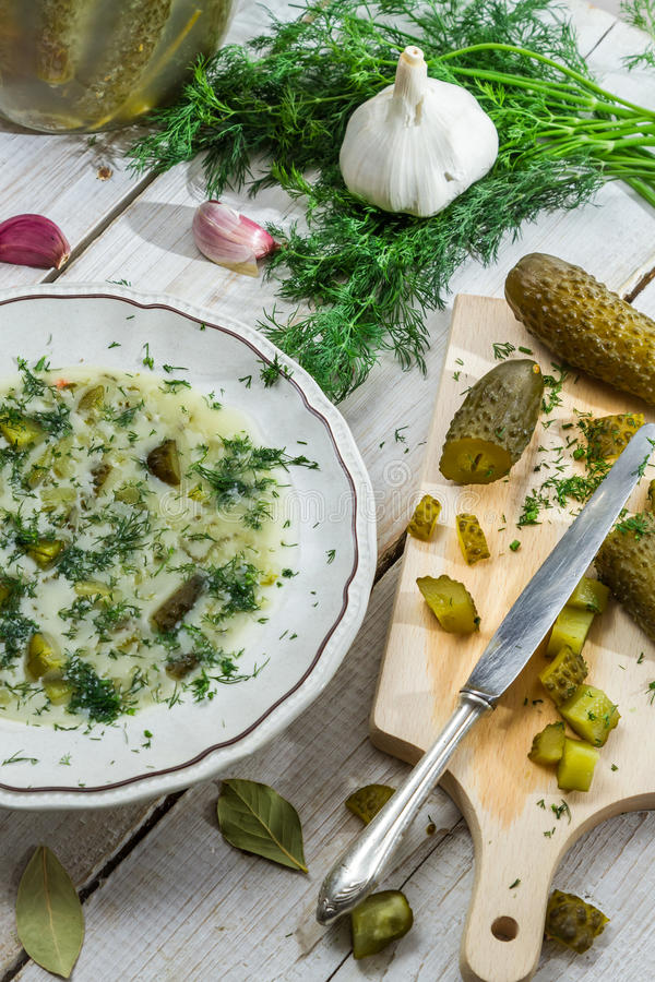 Healthy ingredients for cucumber soup stock photography
