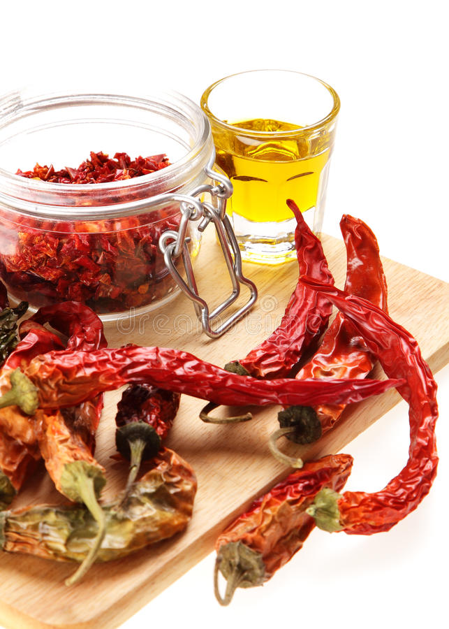Free Healthy Italian Raw Food: Red Chili Peppers And Ol Royalty Free Stock Photography - 44205967