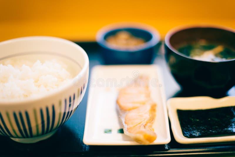 Healthy Japanese breakfast food. On table stock photos