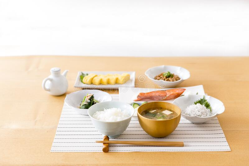Healthy Japanese breakfast. On wooden table stock images
