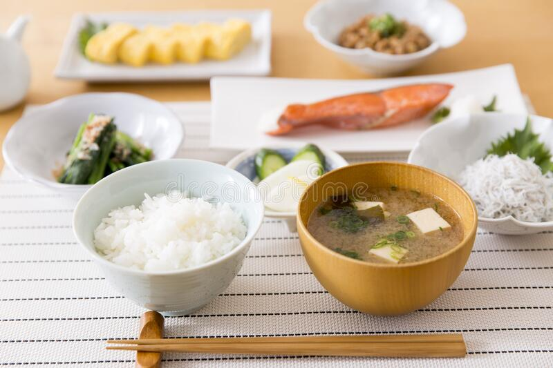 Healthy Japanese breakfast. On wooden table royalty free stock photo