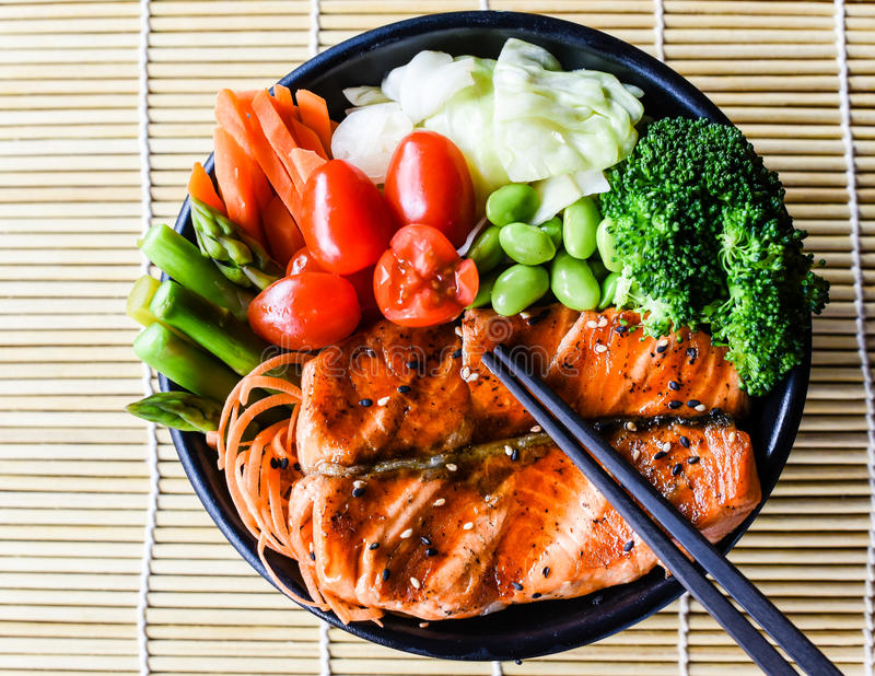 Healthy Japanese Salmon Teriyaki. With streamed vegetables royalty free stock photos