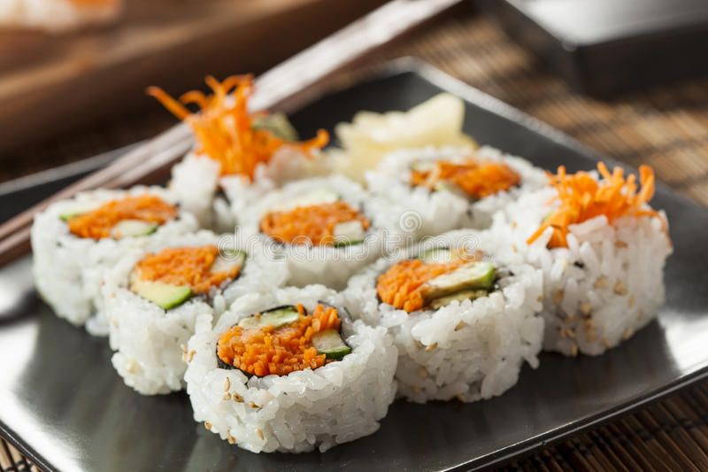 Healthy Japanese Vegetable Maki Sushi Roll royalty free stock photos